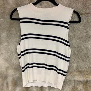 Express, white/blue striped sweater tank, size L